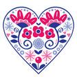 floral folk art heart design valentines day vector image