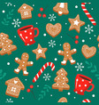 gingerbread pattern festive background vector image vector image