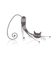 Graceful grey striped cat for your design vector image