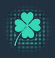 Green four leaf clover icon isolated on blue