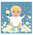 greeting card with baby in the flowers vector image vector image