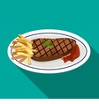 Grilled meat steak with french fries on dish vector image vector image