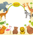 group of wild animals zoo frame vector image