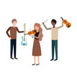 group people with musical instruments vector image vector image