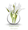 happy easter card with lily of the valley floral vector image
