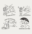 hiking mountain simple line vector image