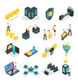 isometric blockchain safe global network vector image vector image