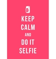 keep calm and do it selfie card vector image vector image