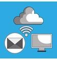 laptop cloud wifi padlock vector image