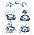 maslenitsa set iicons silhouette vector image vector image