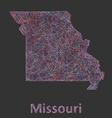 Missouri line art map vector image vector image