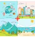 Mountain City Island Travel and tourism icons vector image vector image