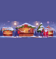 people visit christmas market with santa claus vector image vector image