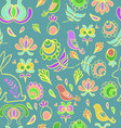 Rabbit in spring garden blue seamless pattern vector image vector image