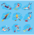 scuba divers swimming under water set people vector image