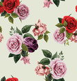 Seamless floral pattern with red purple and pink vector image vector image