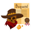 skull in a hat cowboy wild west theme vector image