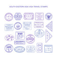 south eastern asia common travel visa stamps set vector image