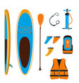 stand up paddle board with accessories vector image vector image