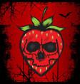 strawberry skull vector image vector image