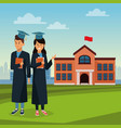 student in robe on high school vector image vector image