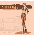 Urban view and slender sexy girl vector image vector image