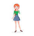 worried young woman cartoon flat character vector image vector image