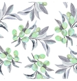Seamless pattern of olive branch in watercolor vector image