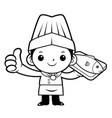 black and white happy chef mascot a fish and vector image