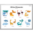 africa elements flat pack vector image
