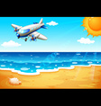An airplane at the beach vector image vector image