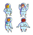 animal astronauts hand drawn color characters set vector image vector image