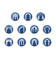 Arched gateways round blue icons set vector image vector image