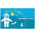 astronomy and space colorful poster with spaceman vector image