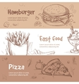 banners of fast food design in hand drawn vector image