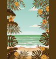 beach palm trees template vector image vector image