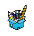 box with pencils and palettes inside vector image vector image