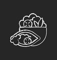 burrito bowl chalk white icon on black background vector image