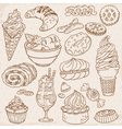 cakes sweets and desserts vector image vector image