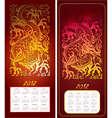 calendar 2012 year with dragon vector image vector image
