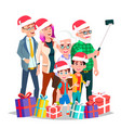 christmas family portrait big happy family vector image vector image
