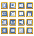 computer chips icons set blue square vector image vector image