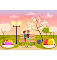 couple looks eyes to eyes in park near streetlight vector image vector image
