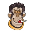 Cute Monkey with candy on a dot background vector image