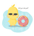 cute pool party invitation card yellow duct with vector image vector image