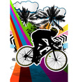 cyclist summer background vector image vector image