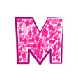 english pink letter m on a white background vector image vector image