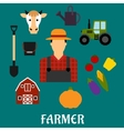 Farmer with flat agriculture icons vector image vector image