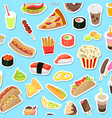 fast and junk kinds food scattered on blue vector image vector image