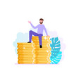 financial consultant or investor sits on a stack vector image vector image